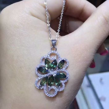 Natural blue sapphire stone pendant S925 silver Natural gemstone Pendant Necklace trendy Luxury tree Flowers women jewelry