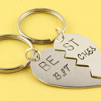 Best Bitches Hand Stamped Broken Hearts Keychains - Handstamped Best Friends Gift - BFF Heart Key Chains or Key Rings