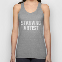 Starving Artist Dirty Distressed Black and White Unisex Tank Top by RexLambo