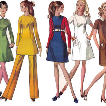 Simplicity 8381 Dress or Tunic & Pants 1960s Vintage Sewing pattern Size 10 Bust 32 1/2 UNCUT FF