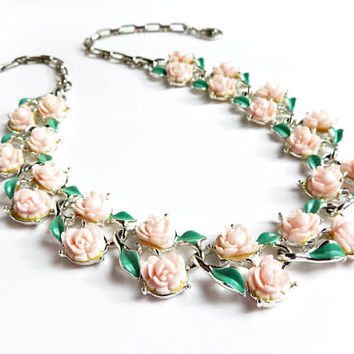 Vintage Flower Necklace Floral Necklace Pink Pastel Flowers Silver Plated Choker Mid Century Necklace Rose Roses Green Leaves
