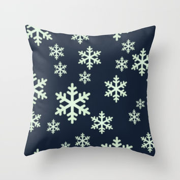 White Snowflakes w/Dark Blue Background Throw Pillow by 11penguingirl