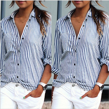 \Women blue & white striped blouse long sleeve