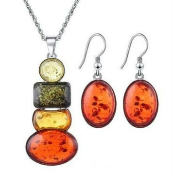 Charm Women's Silver Plated Amber Party Necklace Earrings Jewelry Sets