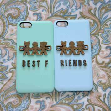 best friends iphone 4 4s 5 case set bronze hand sisters brothers playing children iphone case phone case friendship love gifts trending