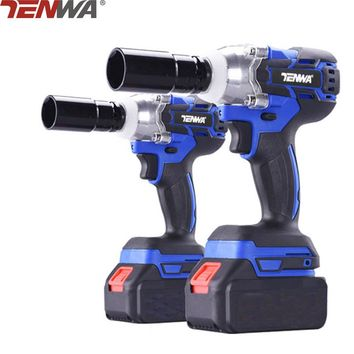 TENWA 18V 4000mAh Brushless/ Cordless Electric Wrench Impact Socket Wrench Li Battery Hand Drill Installation Power Tools