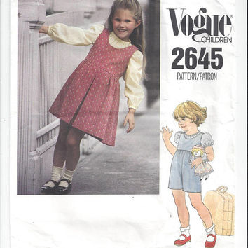 Vogue 2645 Pattern for Girls' Jumper, Jumpsuit, Blouse, Size 6X, From 1985, Vogue Children, Vintage Pattern, Home Sewing Fashion Pattern
