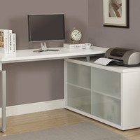 Computer Desk - White Corner With Frosted Glass