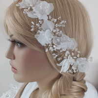 Bridal floral hair vine, crystals flowers hair vine, wedding headpiece, bridal wreath, pearls and crystals twisted on wire,