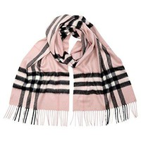 BURBERRY Women's Pink Giant Check Icon Cashmere Scarf