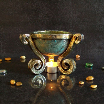 Essential Oil Diffuser and Luminary - Aromatherapy candle holder - raku ancient brazier