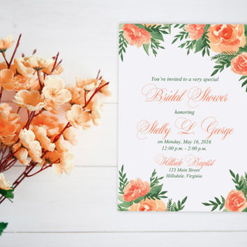 "Watercolor Bridal Shower Invitation - Couple's Wedding Shower Card ""Lavish Garden"" Orange Peach Wedding Bridal Shower - Watercolor Wedding"