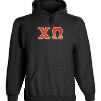Chi Omega Twill Letter Hoody