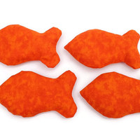 Goldfish Shaped Bean Bags Bright Orange Child's Toy (set of 4) - US Shipping Included
