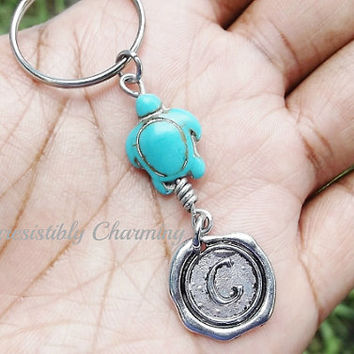 Sale...Turquoise turtle, keychain, bag charm, purse charm, monogram personalized item No.654