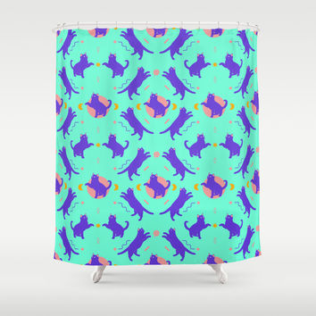 cat pattern Shower Curtain by Oh Wow!