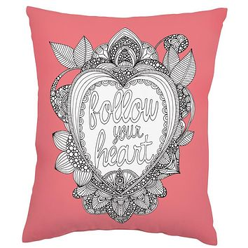 Follow Your Heart Soft Pink Pillow in Coloring Book-Inspired Design