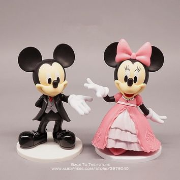 Disney Mickey Mouse Minnie Marry 11cm 2pcs/set Action Figure Anime Decoration Collection Figurine Toy model children girl gift