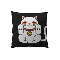 Throw Pillows for Couches / Lucky Cat in black by Miguel Avila