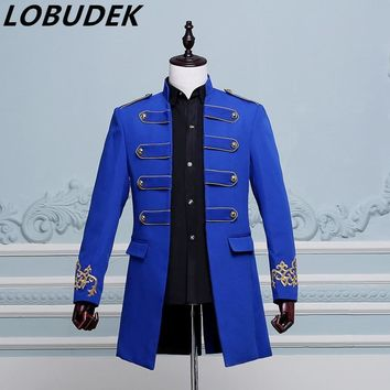 Trendy long blue jacket Punk male prom wedding groom stage DS costume singer nightclub bar show jazz Hip Hop performance outerwear coat AT_94_13