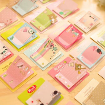 1PC lot New Cute Cartoon 9 series message Notepad cheap Sticky note Note pads Memo Writing scratch pad office school supplies