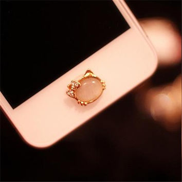 crystal kitty  home button sticker for iphone 6 plus /4s/5/5s iPad,cartoon sticker pearl rhinestone phone decoration accessory