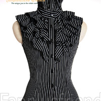 Elegant Gothic Aristocrat Frilly Jabot Lacing-up Corset Vest*3colors Instant Shipping
