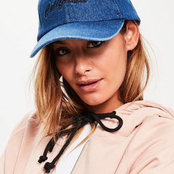 Missguided - Blue Washed Denim California Cap