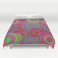 Pink and Green Retro Circle Pattern Duvet Cover by Hippy Gift Shop