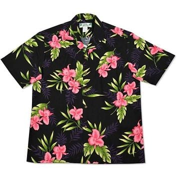 midnight black hawaiian rayon shirt