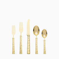 larabee dot gold 5-piece place setting