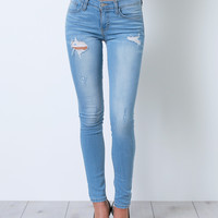 One Direction Skinny Denim Jeans - Distressed
