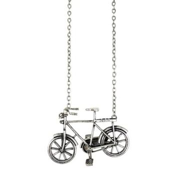 "Iron Bike Pendant Long Necklace - Burn Silver (30"")"