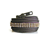 Ready to ship zipper cuff with rhinestones in brown