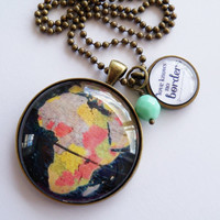 Love Knows No Borders - Large Globe Necklace - Africa - Map Pendant Necklace - Adoption Jewelry - Travel Jewelry - Your choice of bead