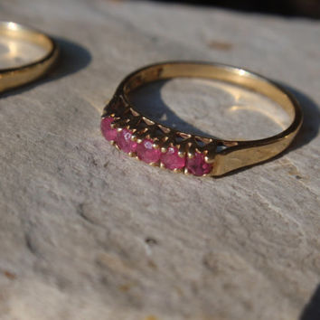 Ruby Wedding Band 10k Ladies Anniversary ring 5 stone stack July birthstone red pink  10% OFF coupon in item detail