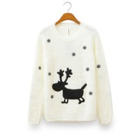 Cute Reindeer Embroidery Sweater
