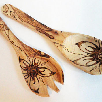 Olive Wood Salad Servers Flower Wood Burned Kitchen Utensils