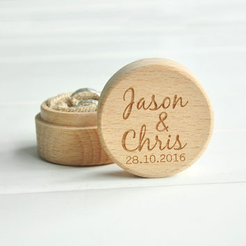 Personalized Rustic Wedding Ring Box Holder Custom Your Names and Date Wedding Ring Bearer Box