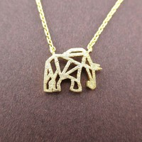 Elephant Outline Cut Out Shaped Charm Necklace in Gold | Animal Jewelry