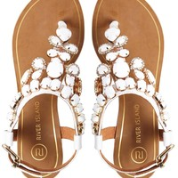 River Island Really White Gem Flat Sandals