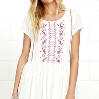 Crush-Worthy Ivory Embroidered Babydoll Dress