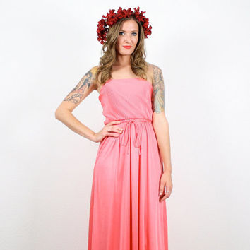 Vintage Coral Pink Dress Maxi Dress Hippie Dress Grecian Dress Ruched Draped Sundress Melon Pink S Small M Medium Hippie Boho Disco Dress
