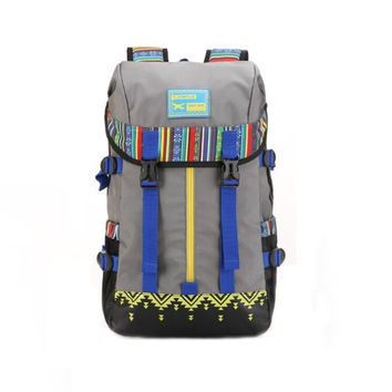 Ethnic Large Hiking Camping Backpack Travel Bag Daypack Black +Free Gift