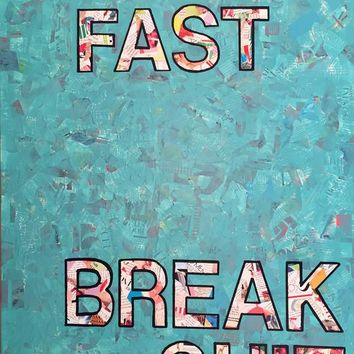 """Move Fast"" Original mixed media collage painting"