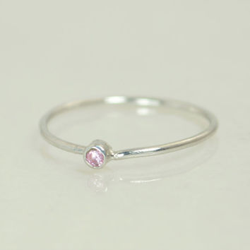 Tiny Pink Tourmaline Ring, White Gold Tourmaline Ring, Pink Tourmaline Stacking Ring, Pink Mothers Ring, October Birthstone, Tourmaline Ring