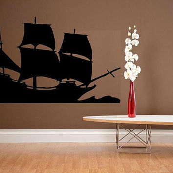 vinyl wall decal Sailing ship nautical by WallDecalsAndQuotes