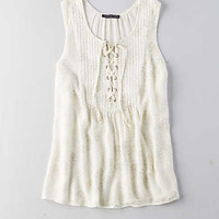 AEO Lace-Up Tank, Cream