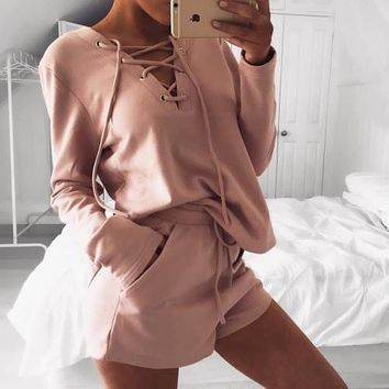 2Pcs Women Loose Lace up Tracksuit Hoodies Top and Shorts Sets Wear women's suit  two piece set costume women's tracksuits