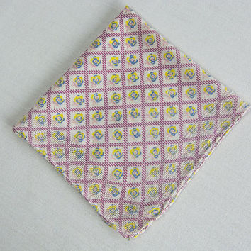 Vintage 50's Handkerchief Hankie Pink Ditsy Floral Lovely Open Weave Border
